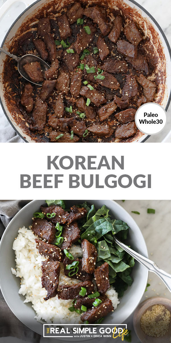 Spit image with text in middle. Beef pieces in pan at top and beef over kale and rice at bottom