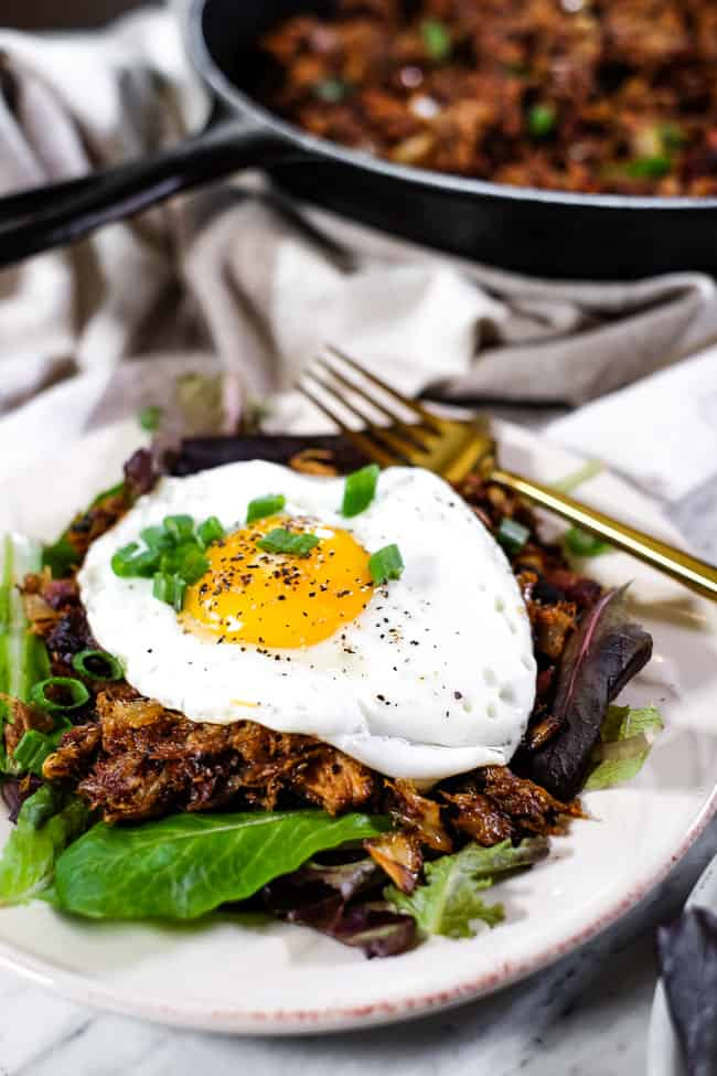 Leftover pulled pork hash on a plate with and egg on top