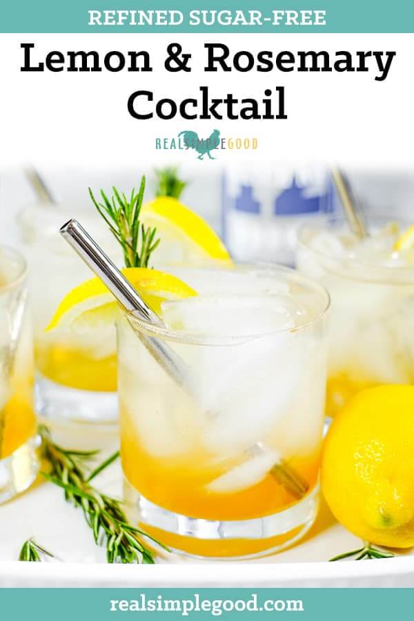 This Lemon & Rosemary Cocktail features an infused rosemary simple syrup made with raw honey. It's a light and refreshing summer cocktail! | realsimplegood.com #summercoktail #cocktail #vodkacocktail