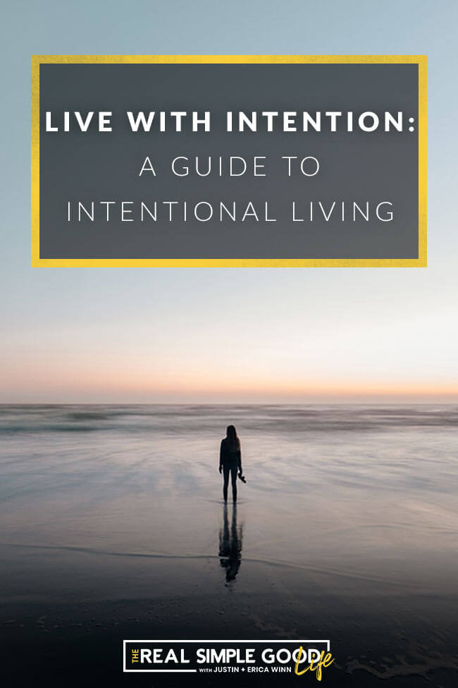 Image of woman on beach with text overlay stating - live with intention a guide to intentional living
