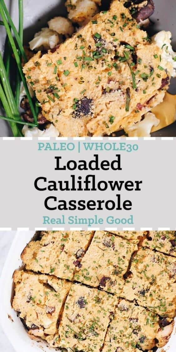 Loaded Cauliflower Casserole long pinterest image with text