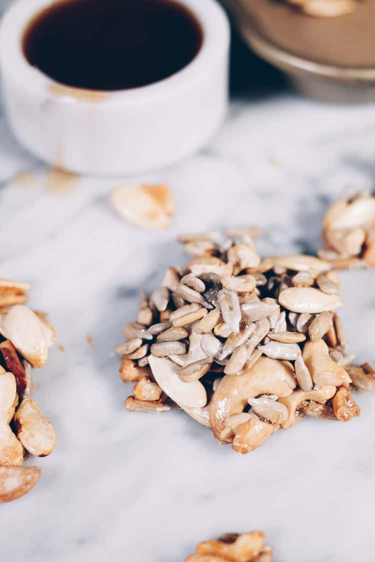 My favorite combo is always salty and sweet. That must be why I love these Paleo Maple Vanilla Clusters. They've got the perfect amount of salty, sweet goodness and they're refined sugar-free. #paleo #paleotreats #refinedsugarfree #cleantreats | realsimplegood.com