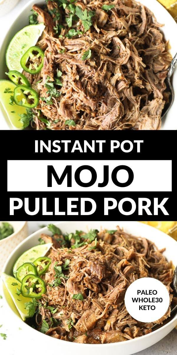 Vertical split image with text overlay in the middle. Top image overhead of shredded mojo pork in a bowl with a serving spoon. Bottom image angled shot of pulled pork in a bowl.