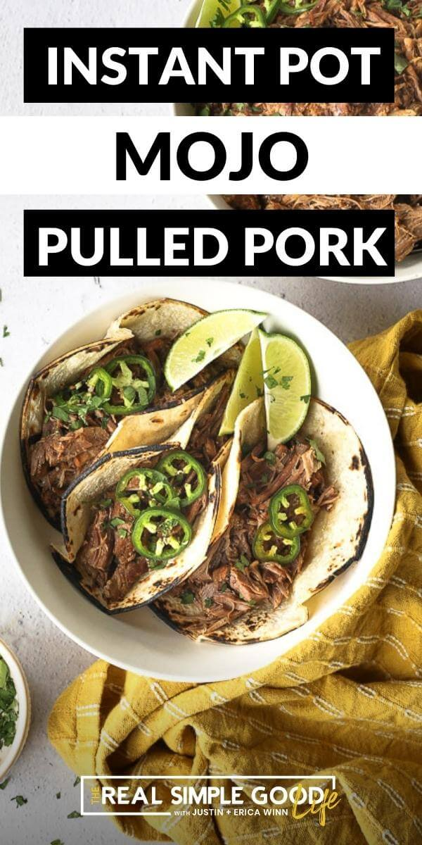 Vertical image with text overlay at the top. Image of three pulled pork tacos in a bowl topped with sliced jalapeño and chopped cilantro.