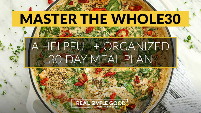 Creamy tuscan chicken in skillet with master the whole30, a helpful + organized meal plan text overlay