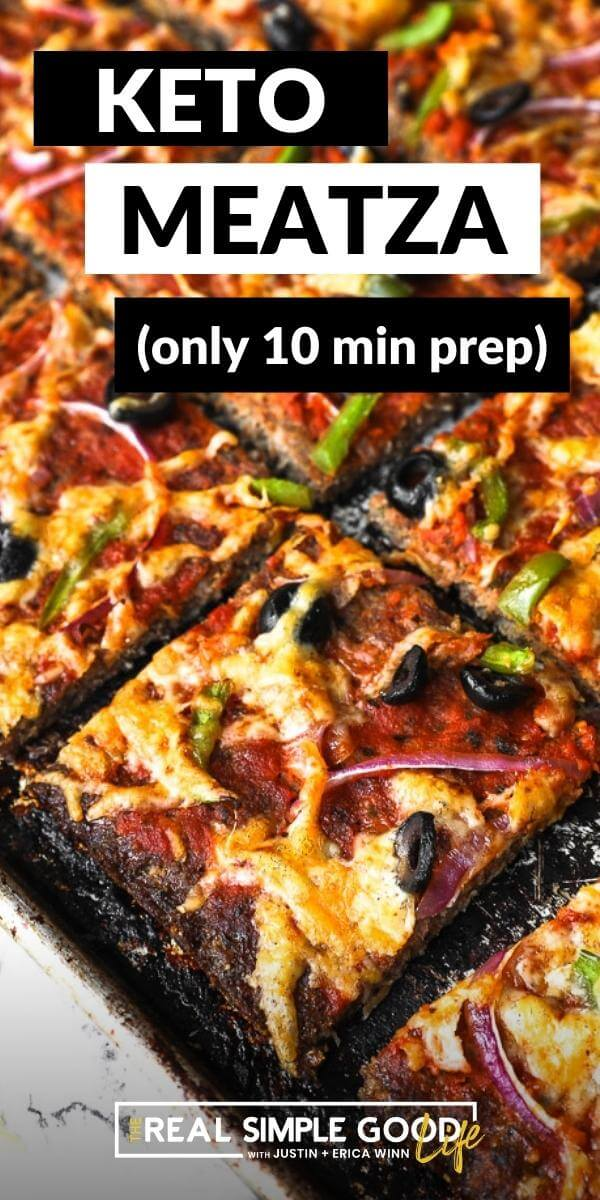 Vertical image with text overlay at the top. Angled image of low carb meatza on a sheet pan.