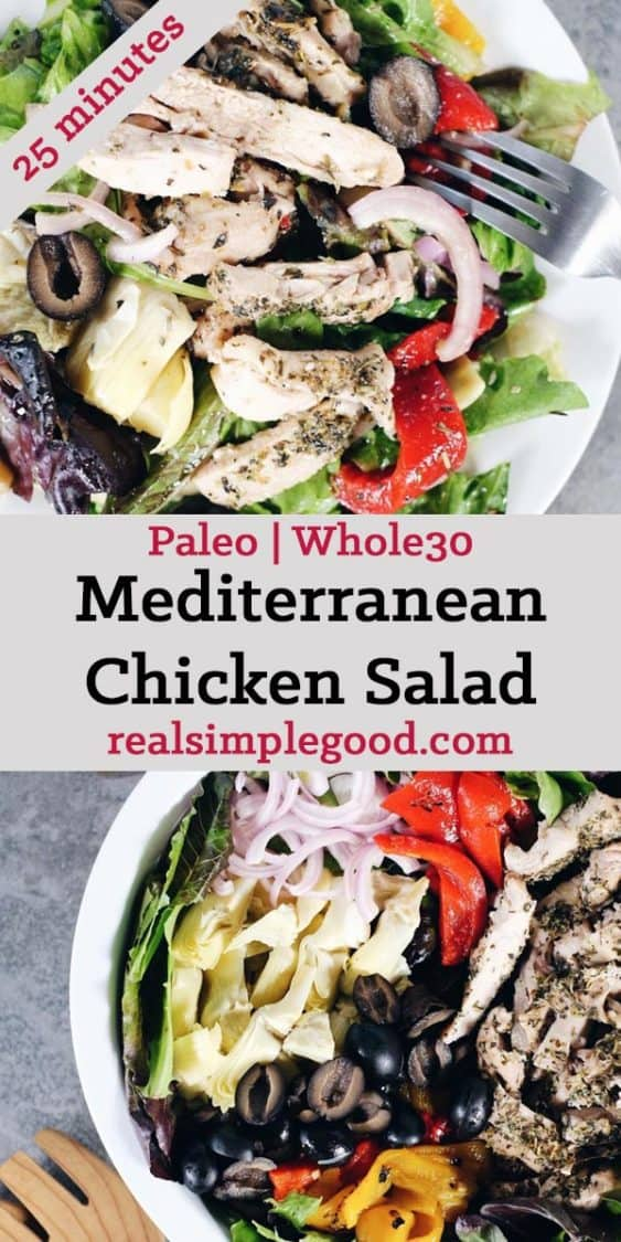 The flavors of this Paleo + Whole30 mediterranean chicken salad take it a notch above the typical salad. It's fresh, flavorful and so easy to make! Filled with fresh lettuce, chicken, olives, roasted peppers, artichoke hearts, red onion and homemade dressing. Paleo + Whole30. | realsimplegood.com