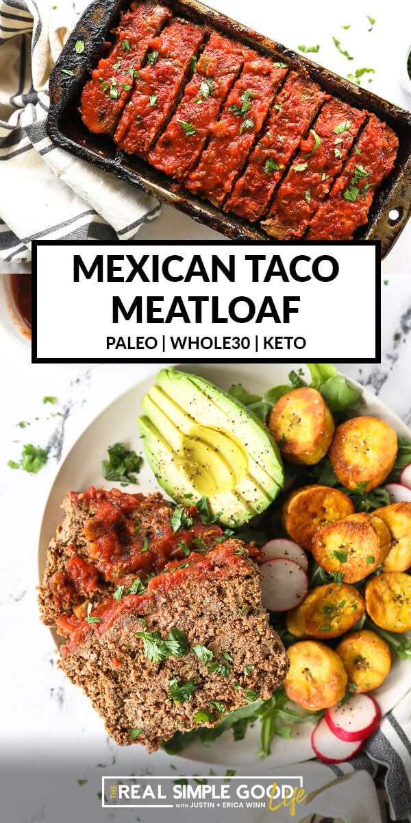 Split image with text in middle. Sliced taco meatloaf in pan on top and slices of meatloaf on a plate with avocado, greens and plantains on bottom