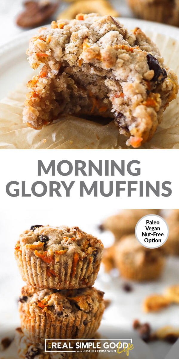 "Vertical split image with text overlay in the middle that says ""Morning Glory Muffins"". Top image is close up of one muffin with a bite take out. Bottom image of of a stack of muffins."