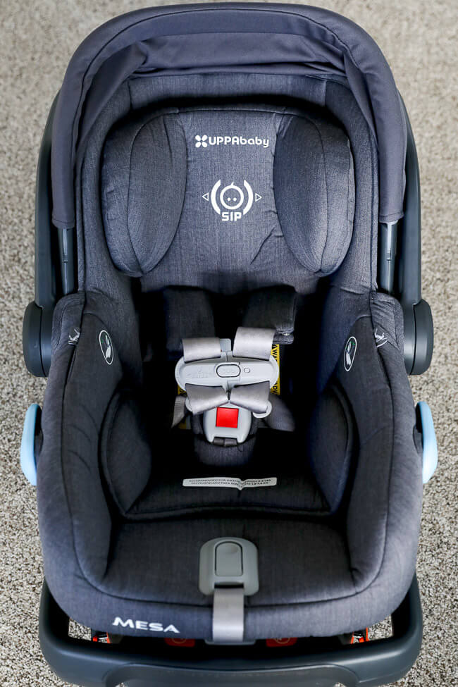 Vertical image of non-toxic car seat for baby.