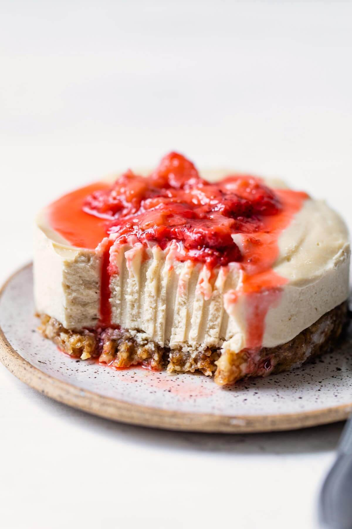 Gluten free cheesecake with strawberry topping