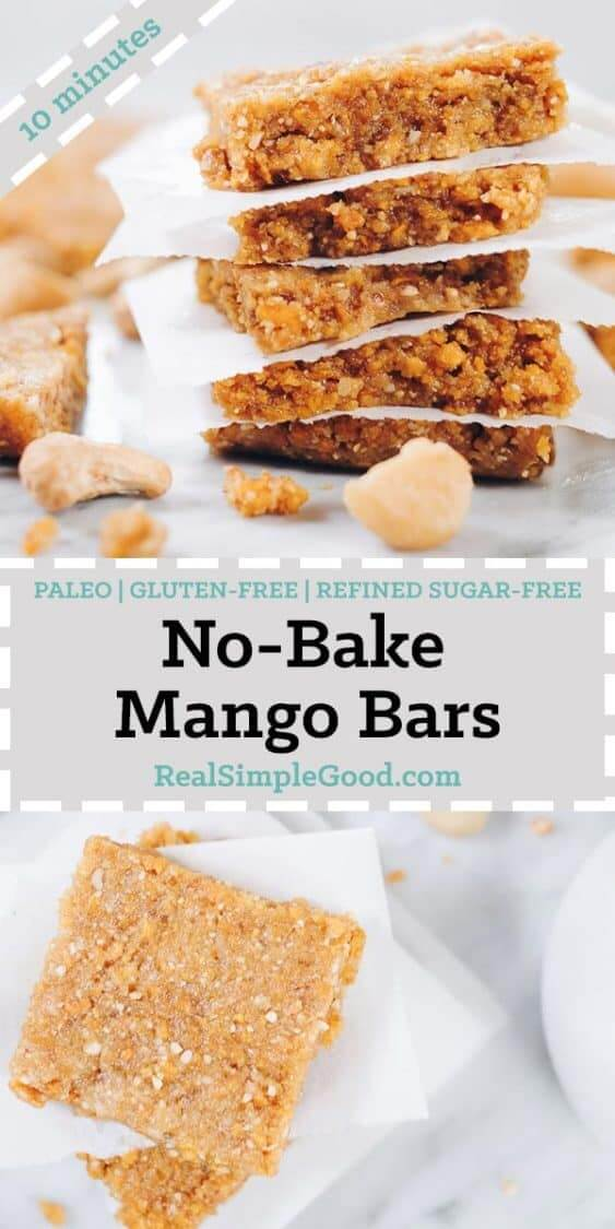 These Paleo No Bake Mango Bars are the perfect snack to make and have on hand. They have only seven ingredients and take about 10 minutes of your time! Paleo, Gluten-Free + Refined Sugar-Free. | realsimplegood.com