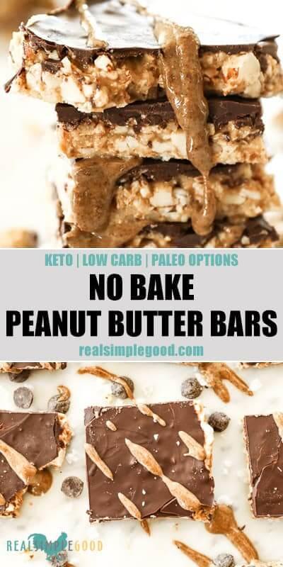 No Bake Peanut Butter Bars (Paleo, Keto + Low Carb)