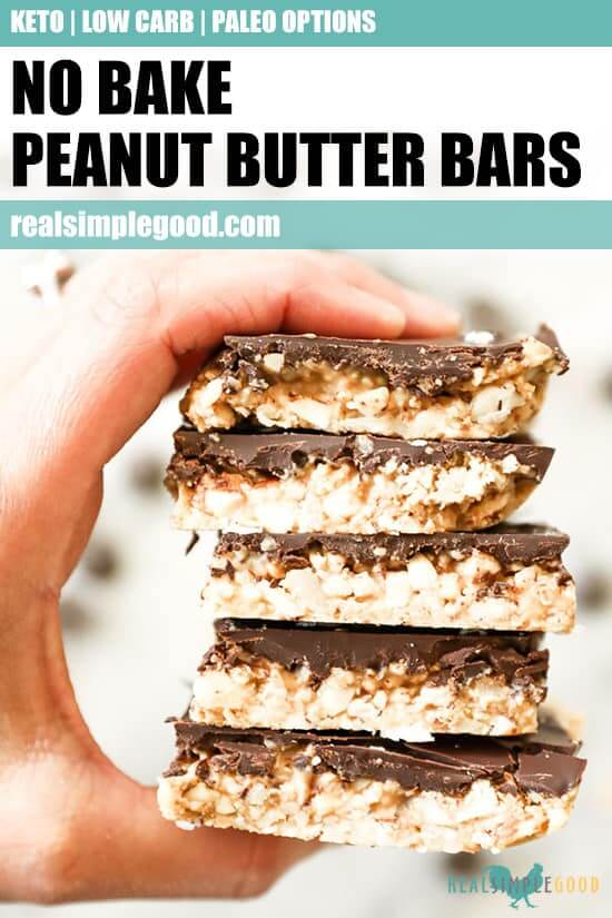 Close up image of holding a stack of peanut butter bars with text overlay at top for pinterest.