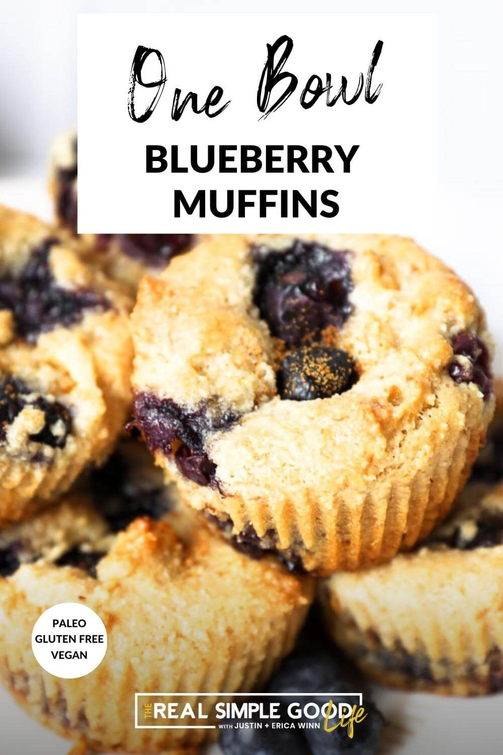 Vertical image of blueberry muffins stacked on a plate with text overlay at the top.