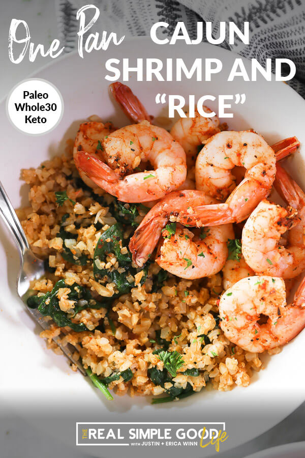 "Close up overhead shot of cajun shrimp and rice in bowl with fork. Text overlay at top of image that says ""Cajun Shrimp and ""Rice"" - Paleo, Whole30, Keto""."