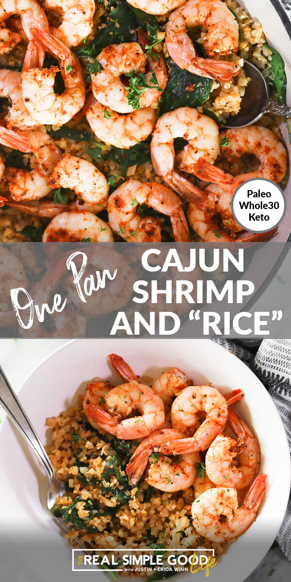 "Vertical split image with text overlay in the middle that says ""Cajun Shrimp and ""Rice"" - Paleo, Whole30, Keto"". Top image close up in skillet. Bottom image served up in a bowl with a fork."