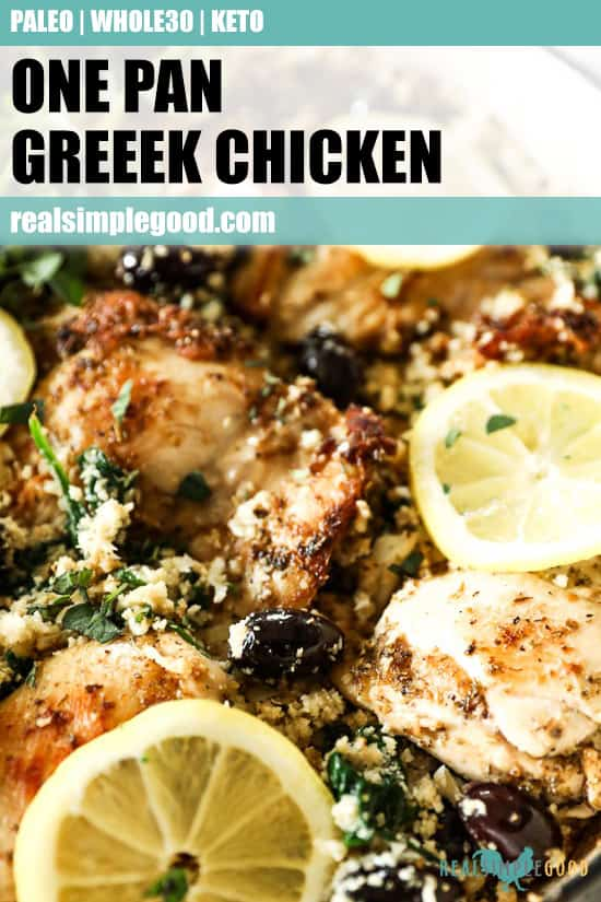 Close up angled shot of greek chicken in skillet with text overlay at top for pinterest.