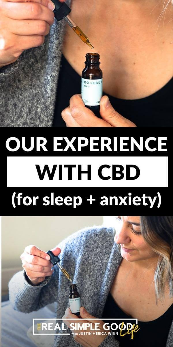Split image with text in middle. Close up of CBD bottle and dropper on top and woman holding CBD bottle on bottom