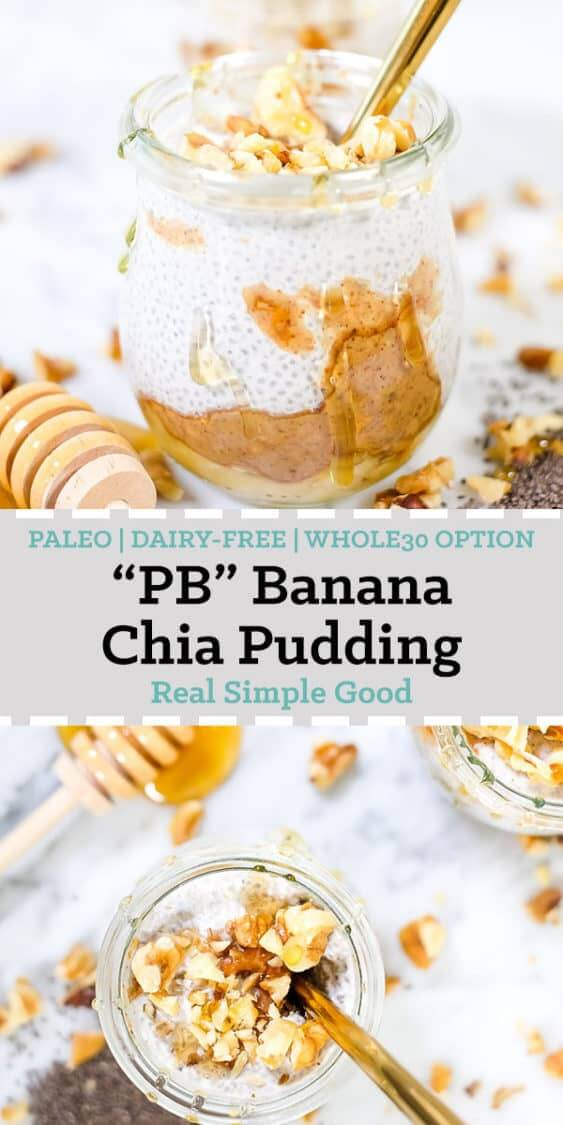 "Paleo and Whole30 make ahead breakfasts, meals, snacks, pretty much everything we possibly can is our jam! This Paleo ""PB&J"" coconut milk chia pudding is not only super easy to make but also quite delicious! There are also instructions in the recipe to make it Whole30 compliant if that's your thing! #paleo #whole30option #realfood #makeahead #chiapudding 