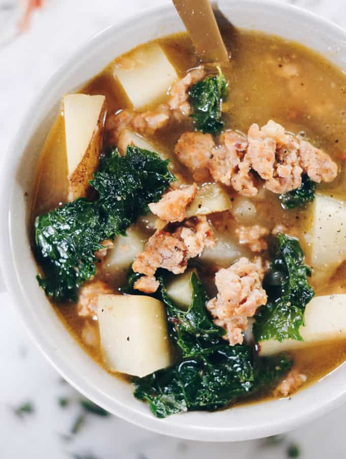 Paleo Sausage Soup with Roasted Garlic and Potatoes (Whole30)