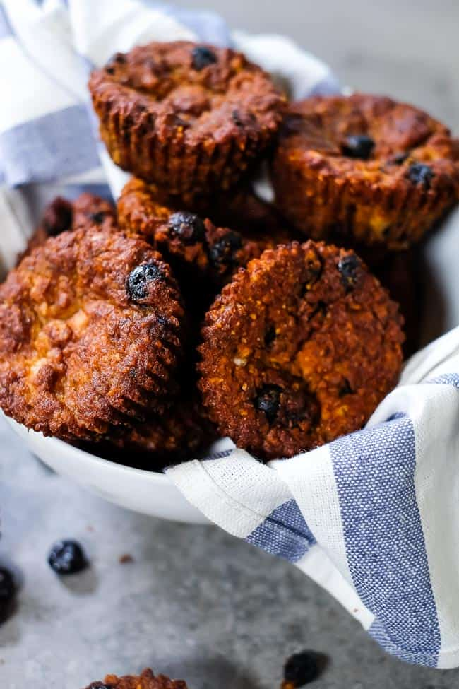 Paleo blueberry muffins in a bowl.