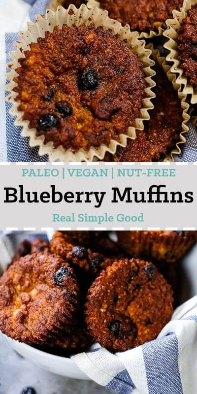 Paleo blueberry muffins long pin for pinterest.