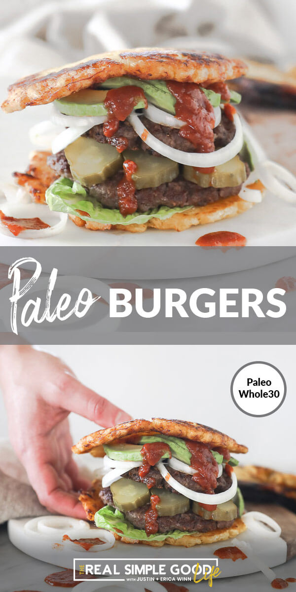 Split image with text in middle. Straight on shot of paleo burger with toppings and ketchup on top and burger being picked up by hand at bottom.
