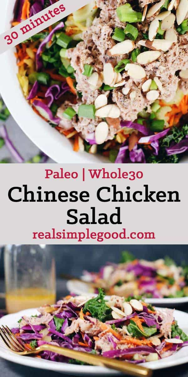 One of my favorite salads to make ahead of time and enjoy the leftovers for lunch is this Whole30 and Paleo Chinese chicken salad. It's packed with colorful veggies (cabbage, carrots, kale, onions and celery) plus easy shredded chicken and a simple dressing. Paleo + Whole30 | realsimplegood.com