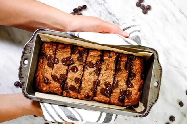 Paleo chocolate chip banana bread in bread pan.