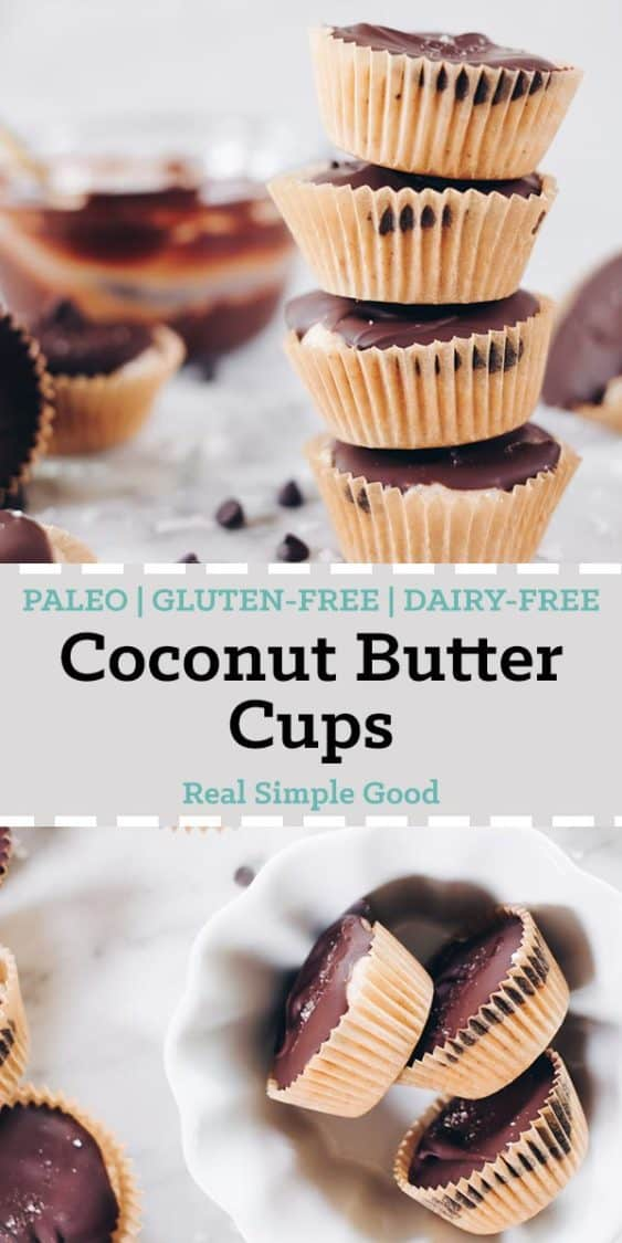 These Paleo coconut butter cups are my latest salty-sweet creation that I've made into the perfect two-bite sized treat! They're gluten-free and dairy-free!   realsimplegood.com