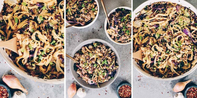 These Paleo potsticker noodle bowls are the BEST! Filled with cruciferous veggies, grain-free pasta and deliciously seasoned ground pork! Paleo, Gluten-Free, Dairy-Free + Soy-Free.   realsimplegood.com