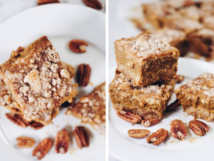 These delicious Paleo pumpkin bars are filled with all the fall flavors you're craving without dairy, gluten, eggs or refined sugar! | realsimplegood.com