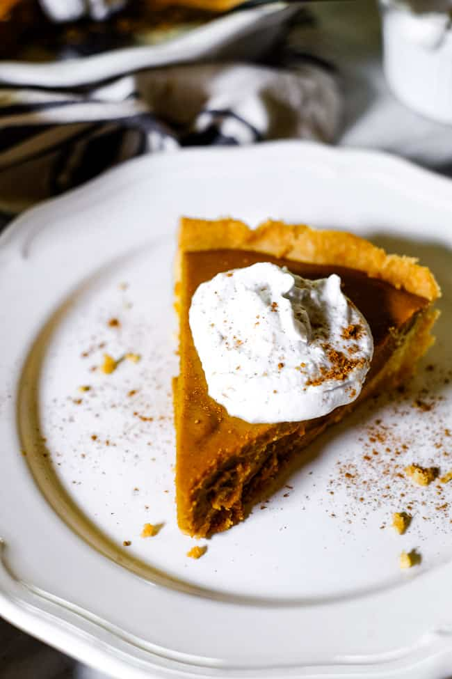 Slice of paleo pumpkin pie on a plate with coconut whipped cream and extra cinnamon sprinkled on top.