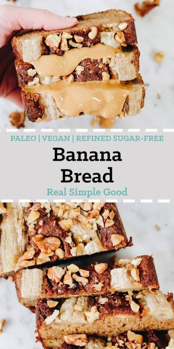 Vegan baking ain't easy! That is mostly all I have to say about that, but I am soooo happy to share this Paleo Vegan Banana Bread with you! It is egg-free, dairy-free and refined sugar-free. Plus, it's easy to make and nobody would even suspect it is Paleo and Vegan friendly. It's that good! #paleo #vegan #veganbaking #paleobaking | realsimplegood.com