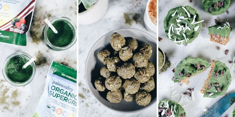 Looking for ways to sneak more greens into your day? We are sharing our new favorite hack - Paleovalley Organic Supergreens and 3 easy ways to use them! #paleo #eatmoregreens #supergreens #nobake #paleovalleypartner | realsimplegood.com