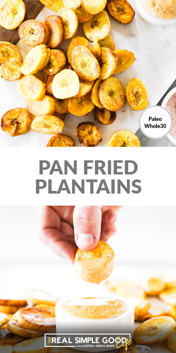 Vertical split image with text in the middle that says Pan Fried Plantains. Top image is close up overhead shot of plantains scattered on marble. Bottom image is dipping plantain in aioli sauce.