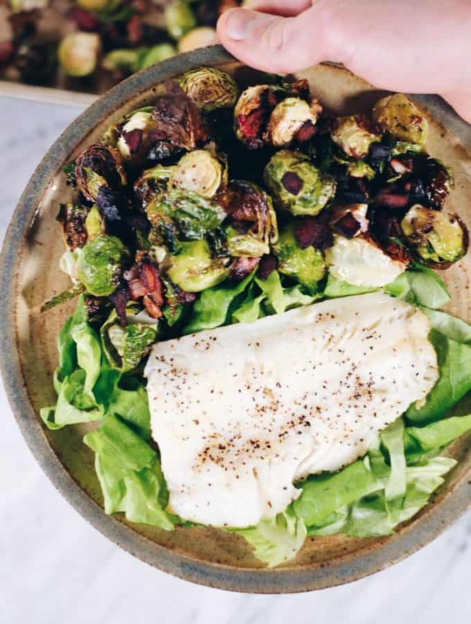 Pan Seared Cod With Garlicky Bacon Brussels Sprouts (Paleo + Whole30)