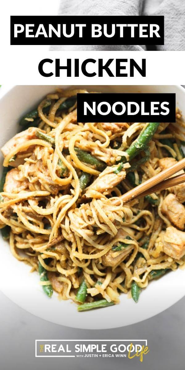 Vertical image with text overlay at the top. Close up of peanut butter chicken and noodles in a bowl with chopsticks.