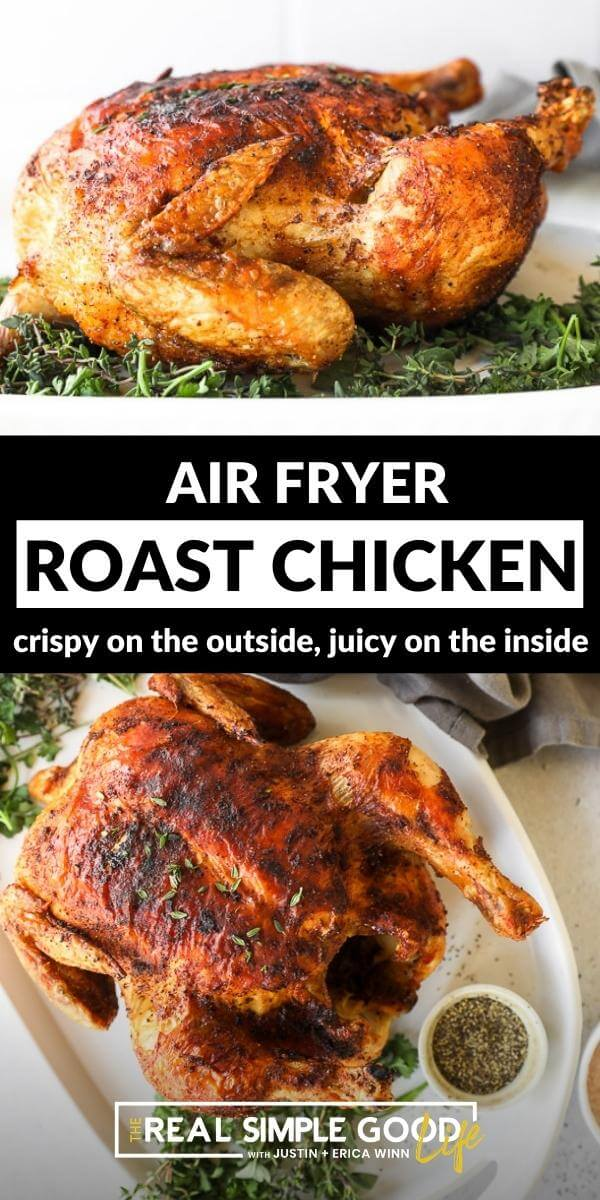 Split image with text in middle. Straight on shot of cooked whole chicken on top and overhead image of roasted whole chicken on a platter on bottom