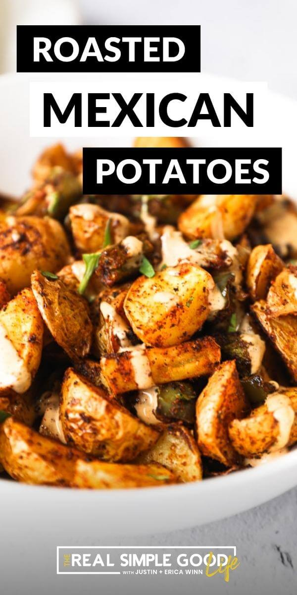Close up angle image of roasted potatoes and sauce drizzle with text on top