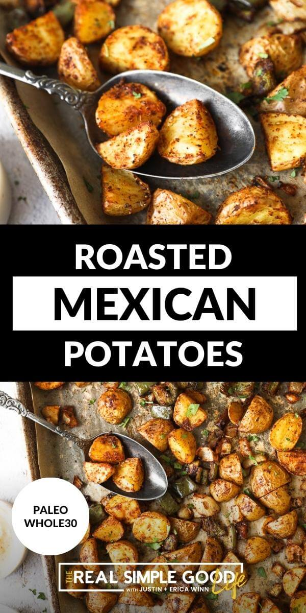 Split image with text in middle. Close up spoonful of roasted potatoes on top and overhead shot of roasted potatoes on a sheet pan on bottom
