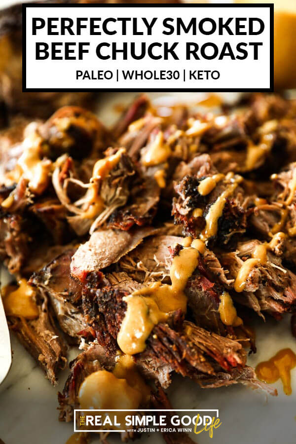 Pulled smoked chuck roast close up at angle with mustard sauce over top. Text on top for pinterest.