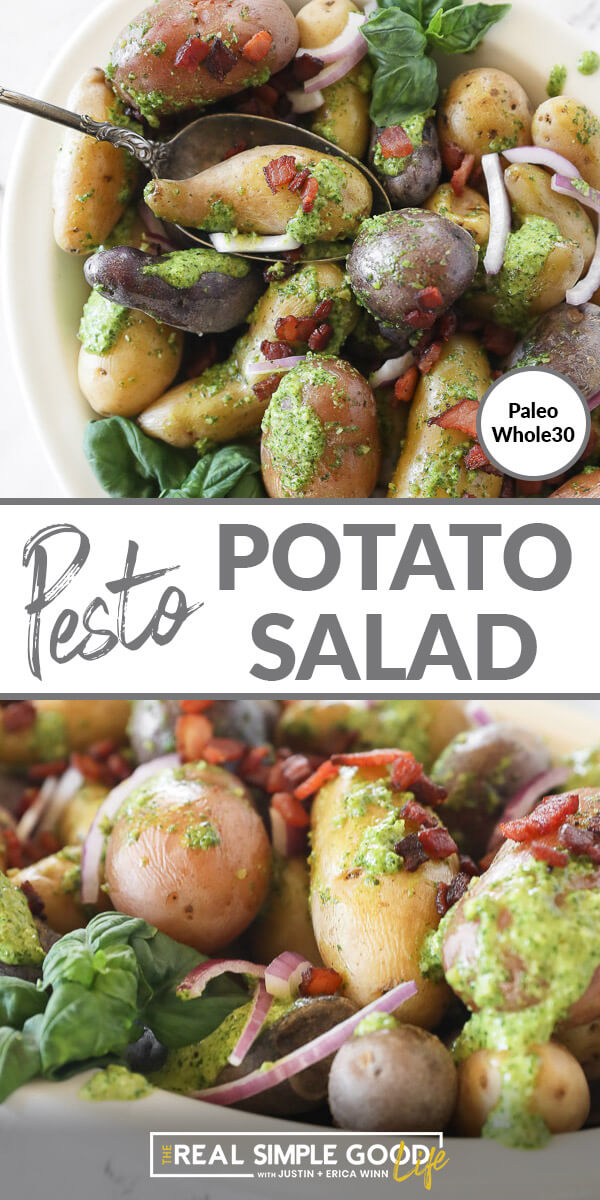 Split image with text in middle. Close up of potato salad in bowl with a spoon on top and close up angle of potato salad on bottom