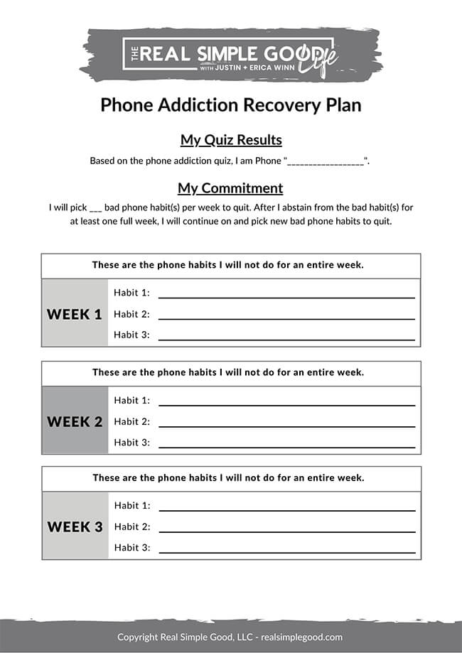 Image of step by step phone addiction recovery plan document
