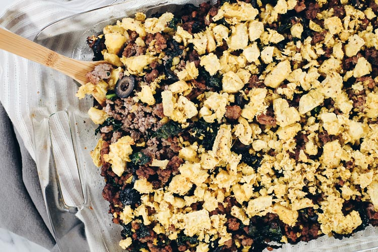 This Paleo and Whole30 Plantain Casserole will make a large amount of food and will definitely be the leftovers you look forward to! It's got a savory combo of plantains, pork, beef and kale with some spices. #paleolife #whole30recipe #paleorecipe | realsimplegood.com