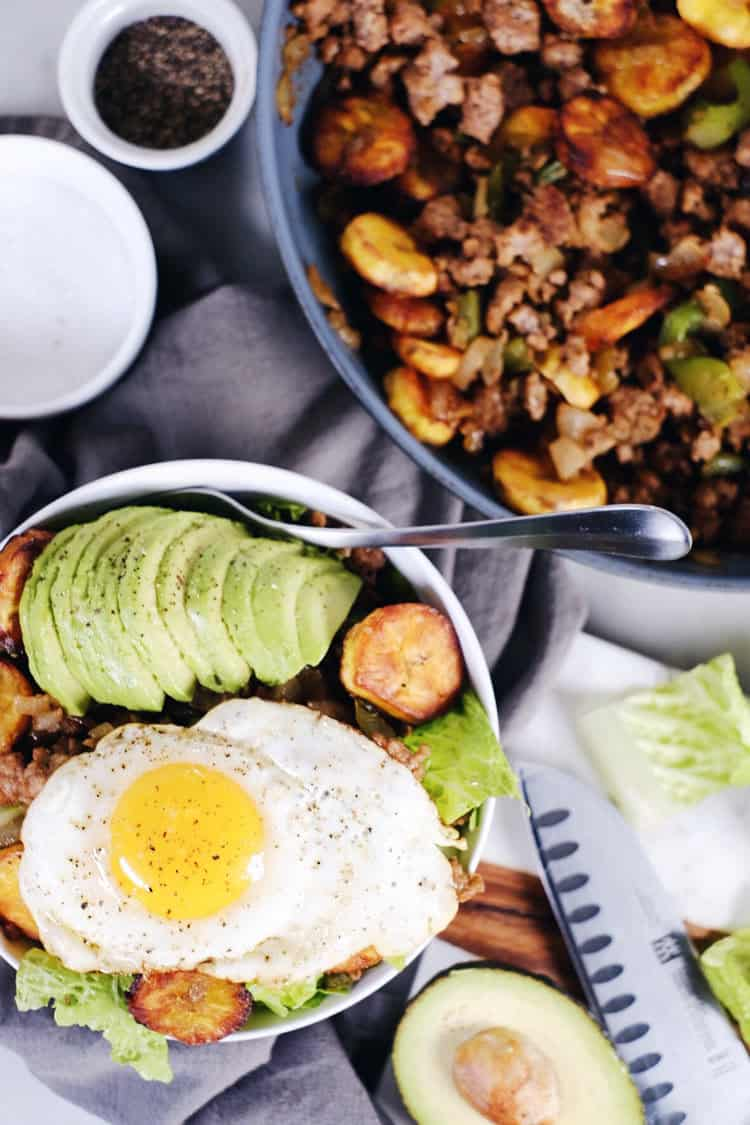 Pork + Plantains go together perfectly and with few ingredients this dish packs flavor! This Paleo + Whole30 pork and plantain bowl is simple and delicious. Paleo, Whole30, Gluten-Free + Dairy-Free. | realsimplegood.com