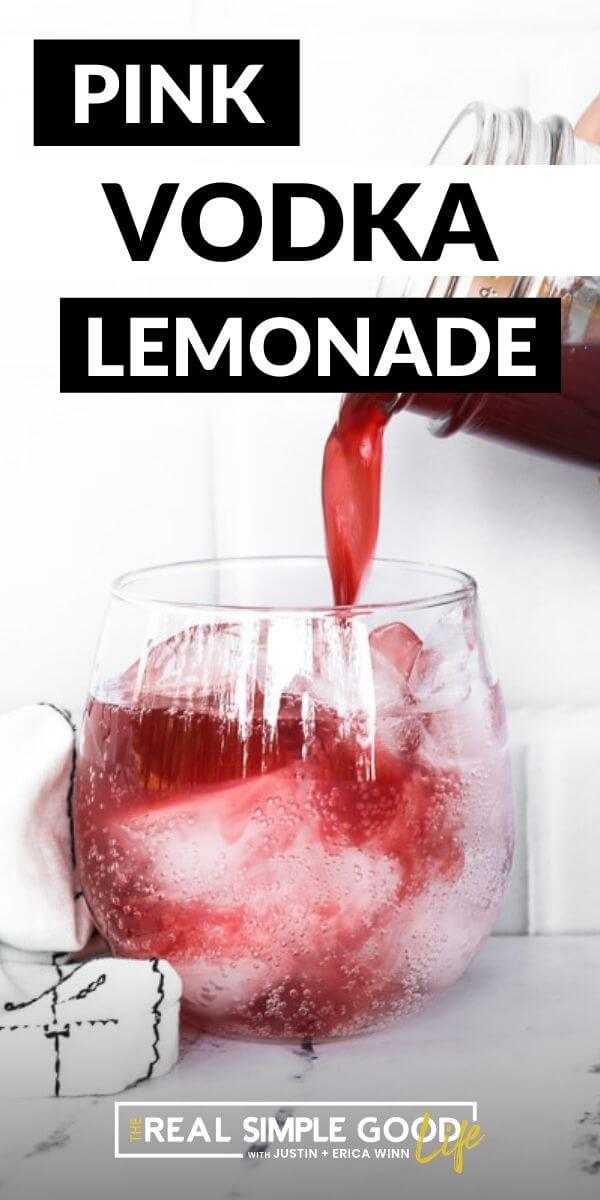 Vertical image with text overlay at the top. Image of pouring pomegranate and lemon juice into glass.