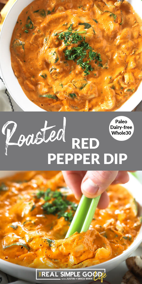 """Split vertical image with text overlay in the middle that says """"Roasted Red Pepper Dip - Paleo, Dairy-Free, Whole30"""". Top image is close up of dip in a bowl with chopped parsley on top. Bottom image is close up of dipping celery in dip."""
