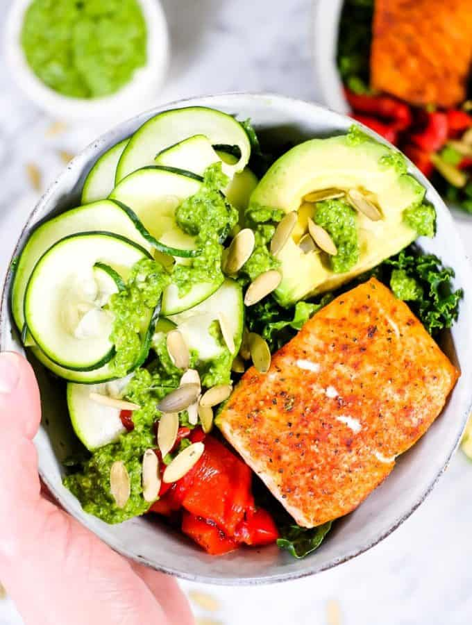 Salmon Pesto Kale Bowl (Paleo + Whole30)